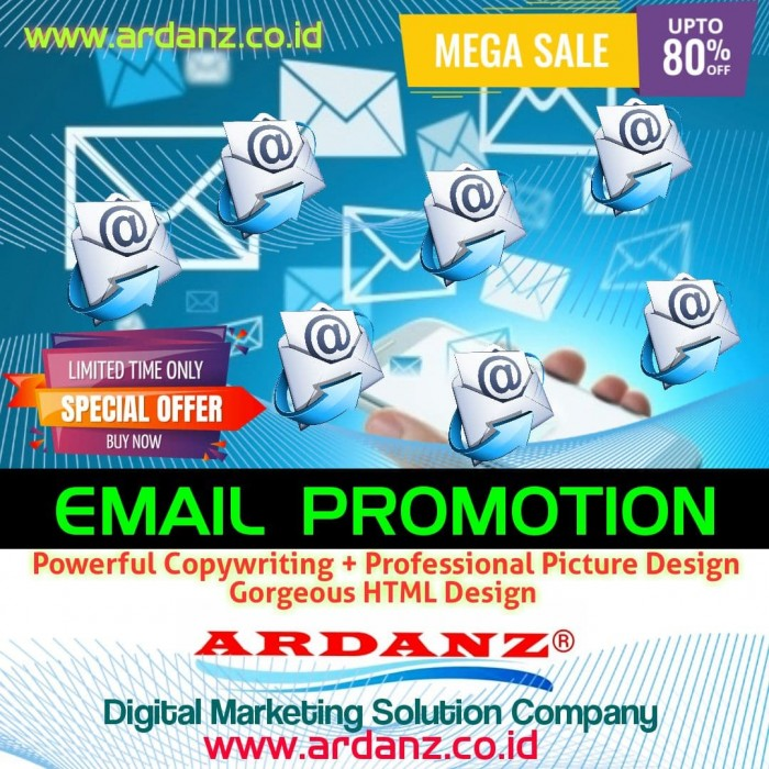 Digital Marketing Solution Paket Promosi 30 Ribu Email ( Powerful Copywriting + Professional Picture Design + HTML Design ) Rp.76,-