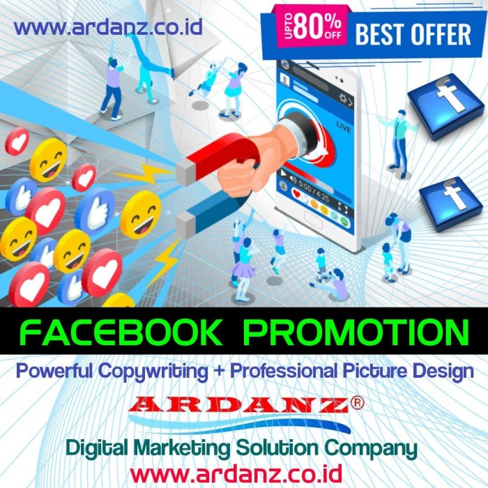 Digital Marketing Solution Paket Promosi Facebook 800 Ribu Prospek Market  (Copywriting + Picture) Rp.38,-